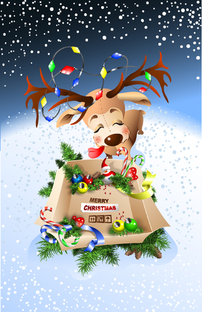 Cute reindeer wishes you a Merry Christmas! Worth box with gifts. Иллюстрация