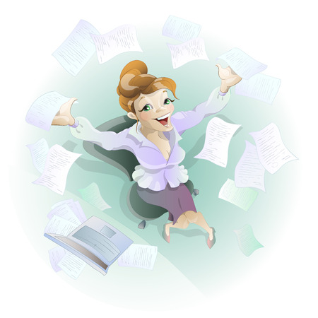 Charming worker throws papers into the air. He likes the upcoming vacation. Vector Illustration