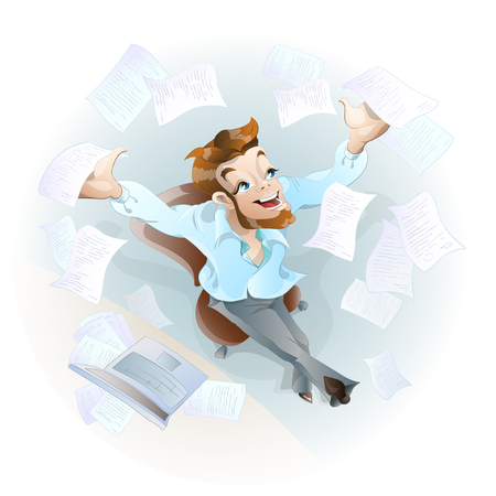 Charming worker throws papers into the air. He likes the upcoming vacation.