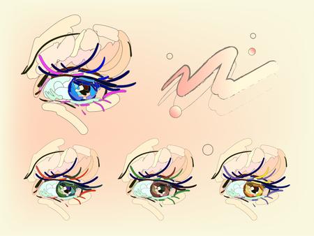 Palette eyes makeup illustration.