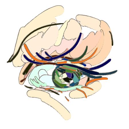 Eye makeup. The art style, brush strokes.