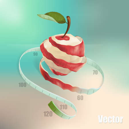 The illustration shows a red apple, which was cut in a spiral. The spiral passes into the measuring tape. This is a symbol of weight loss, diet, healthy eating, vegetarianism.