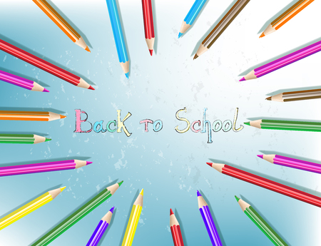 Back to school text drawing with colored pencils. Pencils are arranged in a circle. Vector illustration.