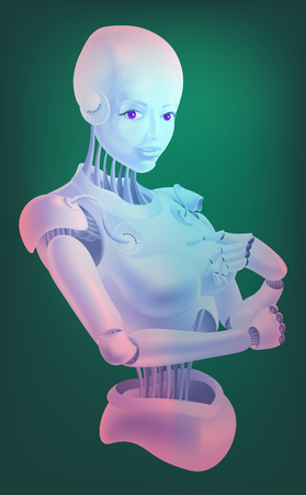 Beautiful robot woman stands in an elegant pose. Isolated on white background.