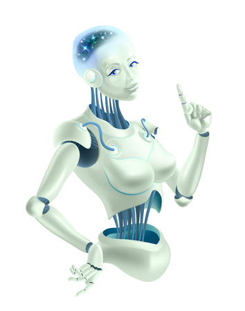 A robot woman holding an index finger up. Neurons are on the wires of the robot.