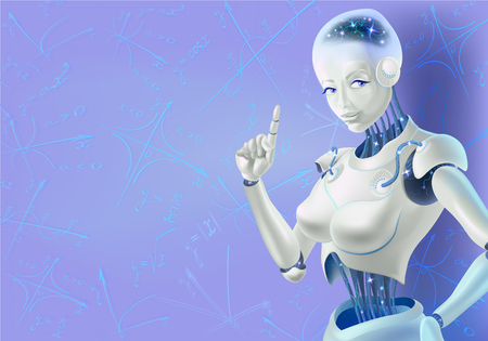 A robot woman holding an index finger up. Neurons are on the wires of the robot. It is on the background of mathematical graphs. Illustration