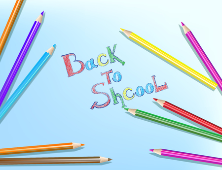 Back to school text drawing with colored pencils. Vector illustration.