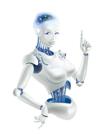 Una mujer robot levantando un dedo índice. Las neuronas están en los cables del robot. Ilustración de vector