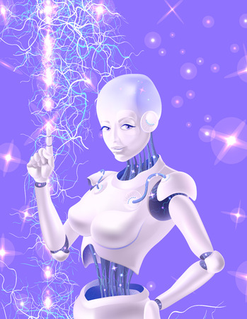 A robot woman holding an index finger up. Neurons are on the wires of the robot. The robot is on the background of neurons that sparkle. Vector Illustration