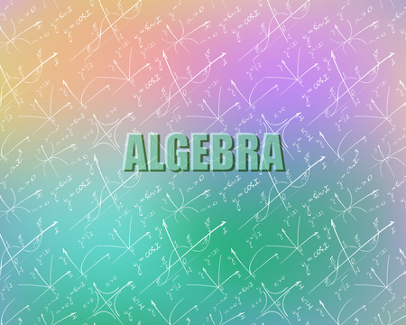 Seamless pattern on the topic of algebra. Graphs are drawn by hand.