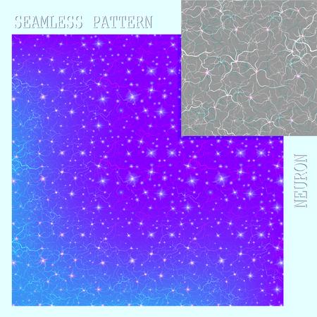 Seamless pattern on the theme of the neuron. Vector illustration. Illustration