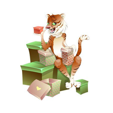 Charming tiger sitting on boxes with gifts. He's holding a special gift. Congratulations on Valentine's day. Vektoros illusztráció
