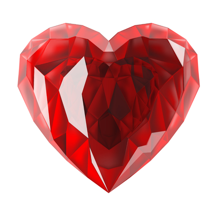 The red heart is a gem. Illustration isolated on white background.