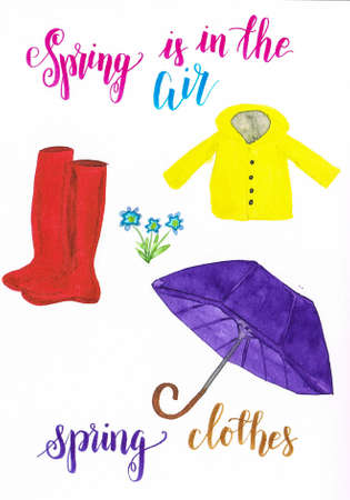 Watercolor spring clothes consisting of yellow raincoat, red wellingtons and a Purple umbrella