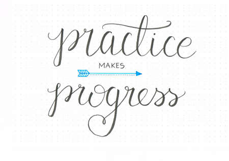 Practise makes progress honest hand lettering saying in black with an arrow Banco de Imagens