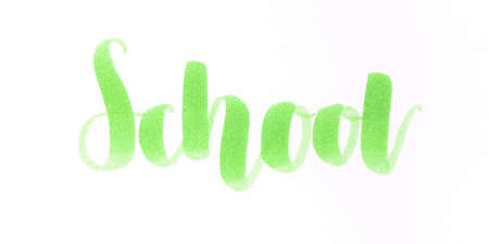 School hand lettering inscription in green for all the kids who come back to school