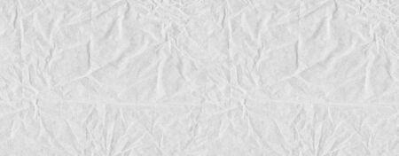 Banner of Crumpled White Paper Texture, Wrinked White Page