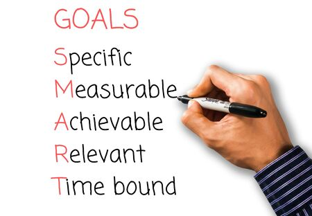 A hand writing SMART goals, Business concept, Specific, Measurable, Achievable, Relevant, Time bound black pen