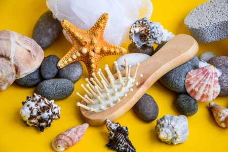 Various spa items, Skincare aromatherapy objects, Spa eco friendly set kit for face and body treatments care, Natural materials in bathroom. Wooden hair brush. Eco-friendly care products. Natural beauty