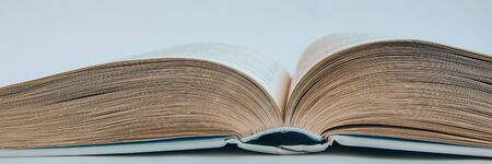 Closeup of a hardcover book open in the middle, Open book, copy space for text 免版税图像