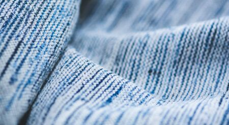 close up of blue fabric background and texture pattern