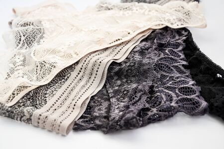 Beautiful lacy panties isolated on white , Beautiful female lacy black panties isolated on white background. Sexy underwear Archivio Fotografico