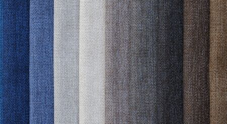 fabric color samples Ocean blue textile background. Silk cloth texture. Fabric pattern