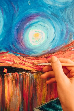 Painting brush, hand and oil canvas, artist's hand, Painting Acrylic and Full spectrum on Cardboard, Van Gogh The Starry Night