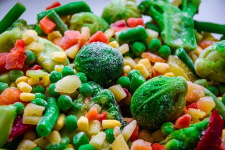 Selective focus Background from different frozen vegetables, Vegetarian food vegetables, brussels sprouts, Texture of vegetables