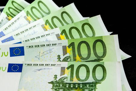 United country's payment system - euro money cash background, pile of paper euro banknotes