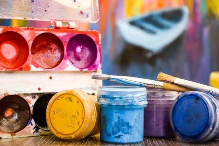 A Set Of Paints For Body Painting Workplace Paints Brushes Stock Photo Picture And Royalty Free Image Image 147884637