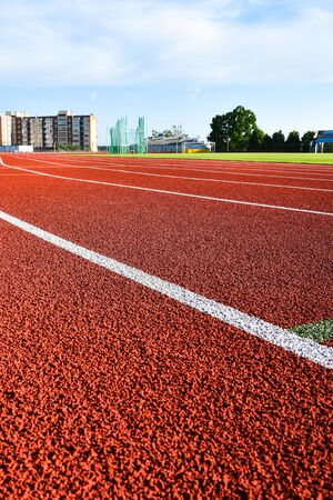 Sport running track for running and jogging for excercise and competition on stadium, Athletic running track for running race. Sport and excercise concept