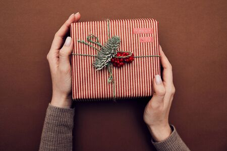 Close-up of female hands holding gift box decorated with fir branch and berries and wrapped in striped wrapping paper isolated on brown background