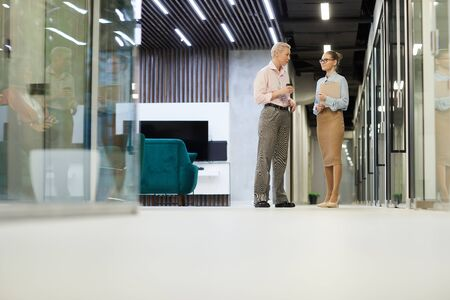 Two businesswomen talking to each other they meeting at corridor of office building