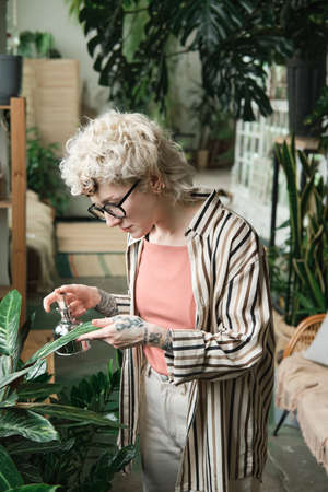 Young woman in eyeglasses caring about leaves of green plant while working in the garden