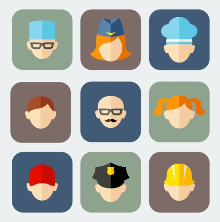 Set of colorful people occupation icons