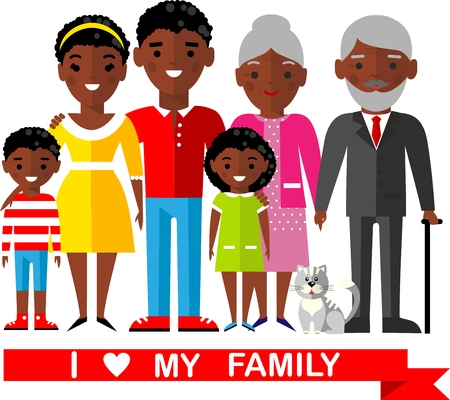 Set of wedding couple, pregnant parents, grandparent, young family