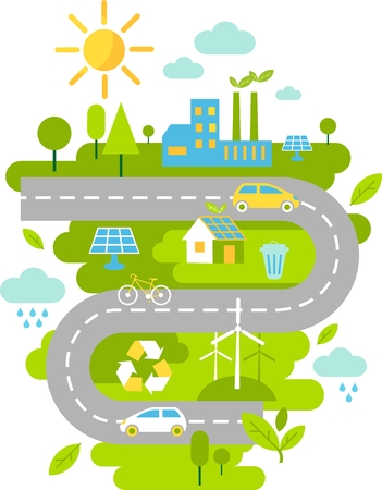 Landscape with buildings, transport and nature ecology elements in flat style