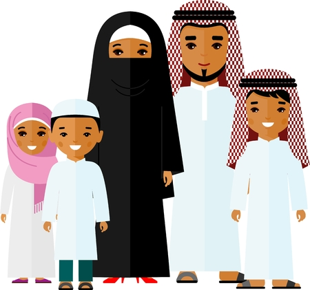 Set of vector colorful illustration of arab family in national costume.