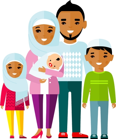 Traditional muslim family with children and maturity. Vector illustration.