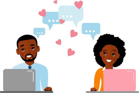 Happy peoples in love sitting at the desk with laptop computer in love chat. Illustration