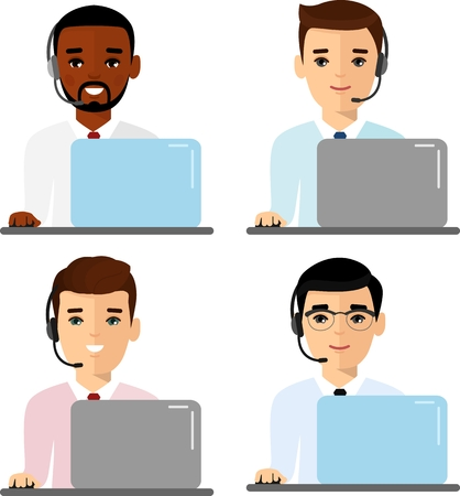 Client services and communication, customer support, phone assistance. Flat style vector illustration isolated on white background.