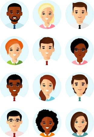 Conjunto de diferentes avatar afroamericanos, pueblos europeos en colorido estilo plano.