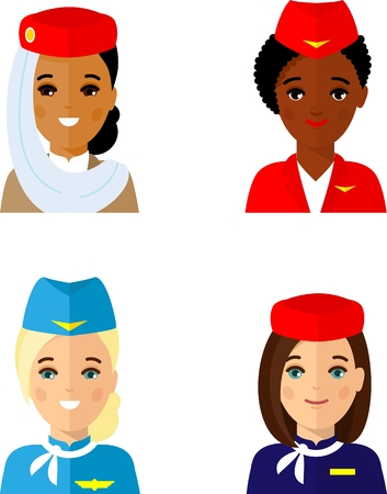 Set of different african american, european, arab avatar stewardess in colorful flat style. Illustration