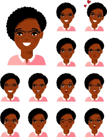 Set of different african american avatar woman in colorful flat style.
