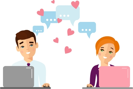 Cute cartoon illustration of people in love using computer and internet.