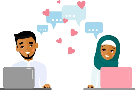 Cute cartoon illustration of arab people in love using computer and internet.