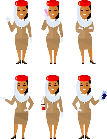 Set of arab stewardess in different poses, care for passengers. Illustration