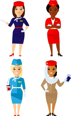 Set of different african american, european, arab stewardess in colorful flat style.