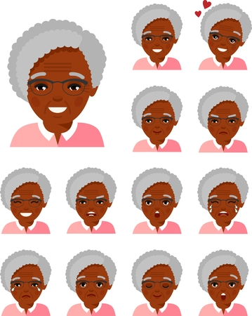 Set of different african american avatar old women in colorful flat style.